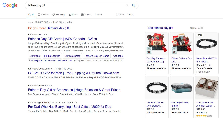 fathers day google ads screenshot