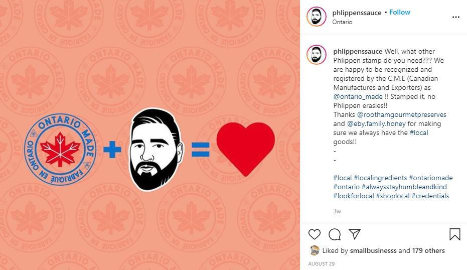 screenshot of authentic IG post