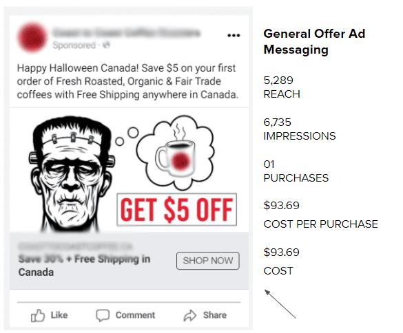 screenshot of paid ad